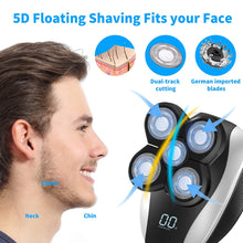 Load image into Gallery viewer, (S151)Electric Shavers for Men, JLMAX 5D Floating Head Shaver for Bald Men IPX6 Waterproof 5 in 1 Mens Electric Razor With Clippers Nose Hair Trimmer Facial Cleansing Brush