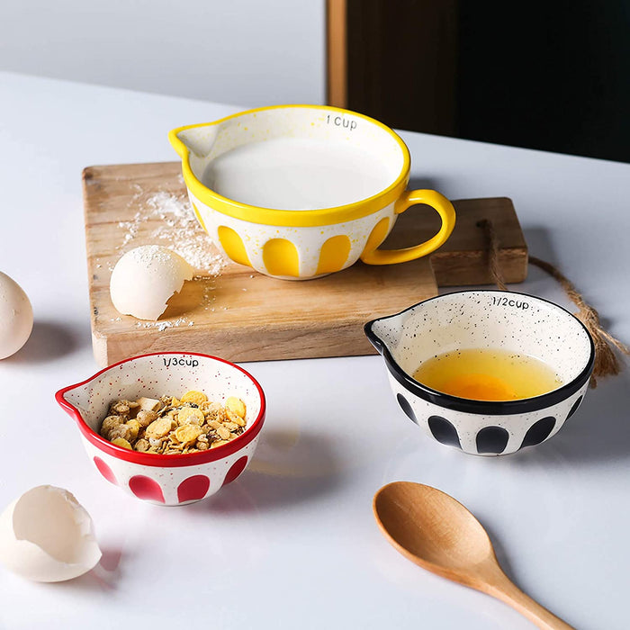 (X114)Ceramic Measuring Cups Set of 4 for Cooking and Baking Assorted Colors