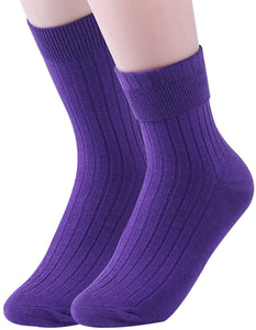 (E533)Womens Crew Socks Cotton 6 Pack High Ankle Solid Neutral Color Dress Socks Shoe Size US 7-11