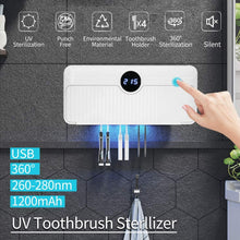 Load image into Gallery viewer, (T350)Jiandi UV Toothbrush Holder, Bathroom Toothbrush and Razor Holder Wall Mounted, 5 Slots Bathroom Storage Organizer for Family Toothbrushes and Razor