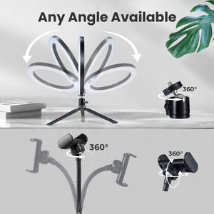 "(T202)VictSing 10"" LED Ring Light, Dimmable Desktop Selfie Ringlight with 360°Adjustable Tripod and Phone Holder, Camera Ringlight with 3 Modes & 10 Brightness"