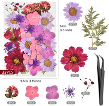 Load image into Gallery viewer, (R565)Dried Flowers, 101 Piece Real Dried Pressed Flowers Leaves for Resin with Tweezers for Scrapbooking Soap and Candle Making Resin Jewelry Pendant Crafts Making