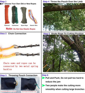 (Y638)48 Inch High Reach Tree Limb Hand Rope Chain Saw and Blades on Both Sides-Best Folding Pocket Chain Saw for Your Camping