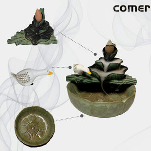 (V040)U/N Handcrafted Backflow Incense Burner, Ceramic Waterfall Cone Holder with Lotus Leaf and swan Shape for Home/Office/Yoga/Gift
