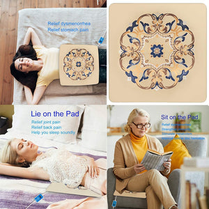 (S571)Head Sun Far Infrared Heating Pad for Back Pain Relief Fast Heating Mat with Tourmaline Bian Stone Germanite Graphene Auto Shut Heating Pads Good