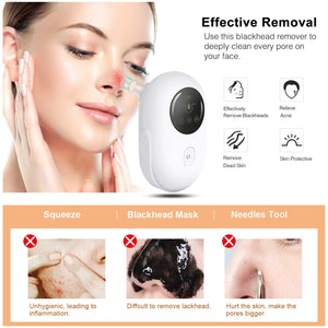 (Y982)Blackhead Remover Vacuum Pore Cleaner - with 5 Modes Acne Comedone Extractor Kit with 5 Suction Head