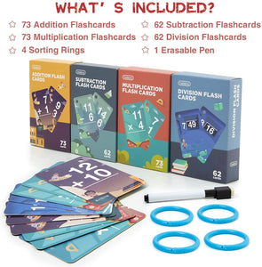 (K572) beiens Multi Math Flash Cards, 270 Addition, Subtraction, Multiplication, Division Cards, All Facts 0-12 with 1 Erase Pen 4 Rings
