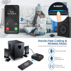 (S815)ELEGIANT Bluetooth 5.0 Transmitter Receiver Wireless Audio Adapter Pair 2 Headphones at Once Built-in Microphone LED Indicator