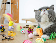 Load image into Gallery viewer, (G198) oolilioo 22 PCS Cat Toys, Kitten Interactive Toys Assortments Including Feather Wand, Cat Cool Glasses, Bell Balls, Fluffy Mice, Catnip Toys, Natural Chew Stick for Cat, Kitty