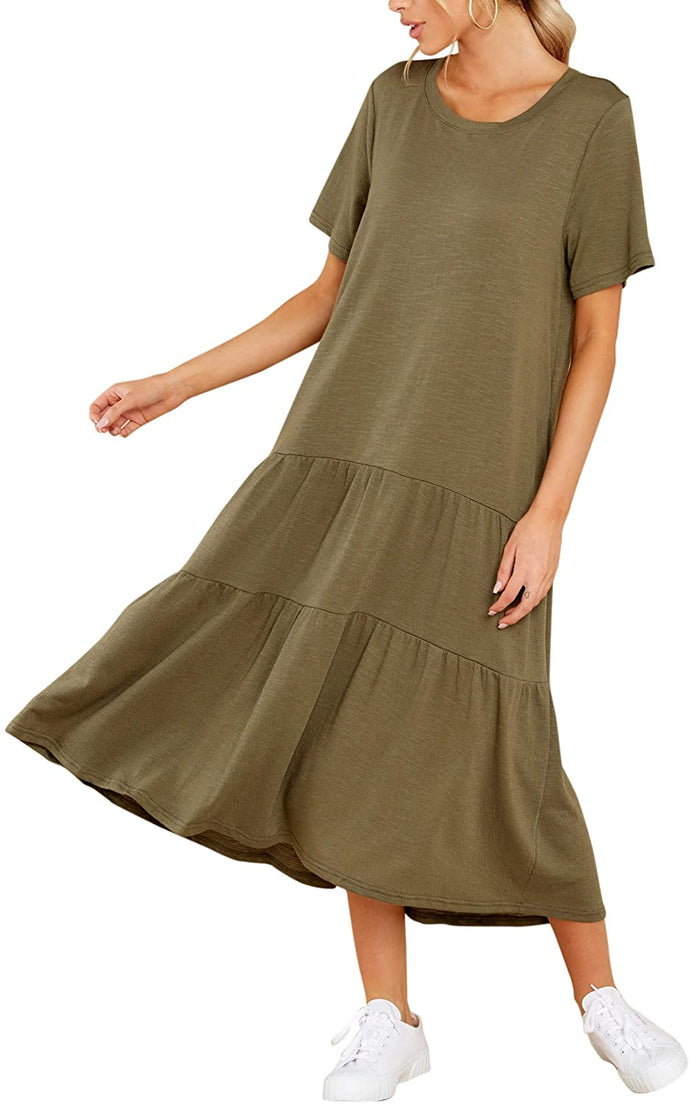 (M637)GRACEVINES Women's Summer Short Sleeve a Line Midi Long Dress Loose Casual Ruffle Flare T Shirt Dress with Pockets
