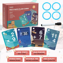 Load image into Gallery viewer, (K572) beiens Multi Math Flash Cards, 270 Addition, Subtraction, Multiplication, Division Cards, All Facts 0-12 with 1 Erase Pen 4 Rings