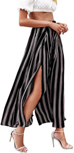 (M572)Simplee Women's Elegant Striped Split High Waisted Belted Flowy Wide Leg Pants