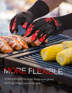 (G298)WEEDABEST BBQ Gloves for Smoker,Heat Resistant Oven Gloves Long Sleeve,Grill Gloves Heat Proof for Man