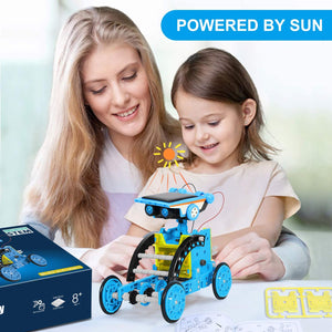 (Q526)IVETTO Solar Robot Kit 12 - in - 1 Robot Creation Toy Solar w/ Battery Operated DIY Assembly Educational Learning Science Building Toys