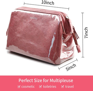 (S312)OMYSTYLE Makeup Bag Cosmetic Bag for Purse, Portable Travel Toiletry Pouch for Women and Girls, Waterproof Tyvek Makeup Bag Organizer
