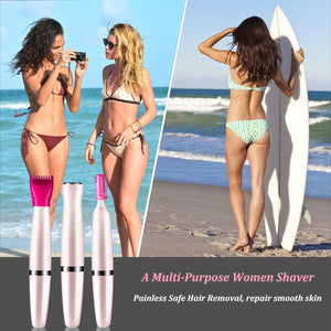 (B875)Women's Bikini Trimmer 3in1 Painless Multi Grooming Kit Cordless Wet and Dry Shaver Electric Razor Women's Facial Hair Removal Bikini Trimmer