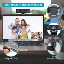 Load image into Gallery viewer, (S730)Webcam with Microphone,EKACOM HD 1080P Web Camera for PC Computer Laptop Desktop ,USB Plug and Play Autofocus Web Cam