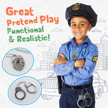 Load image into Gallery viewer, (T913)Toy Metal Handcuffs Set Gift for Kids, Police Pretend Play Toy Set Kids Hand Cuffs with Badge for Cosplay Costume Accessory, School Classroom Dress Up Pretend Play