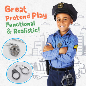 (T913)Toy Metal Handcuffs Set Gift for Kids, Police Pretend Play Toy Set Kids Hand Cuffs with Badge for Cosplay Costume Accessory, School Classroom Dress Up Pretend Play