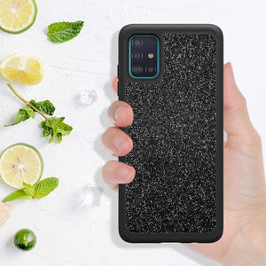 (A982)D DESSVON Samsung A51 Case, Galaxy A51 Case Glitter Black for Girl Women, Slim Full-Body Cover 2 in 1 Hybrid Hard PC & Soft TPU Rugged Bumper Shockproof Phone Case