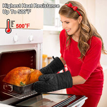 Load image into Gallery viewer, (F166)Jaweke Oven Mitts and Pot Holders 4Pcs Set, Extra Long 500℉ Heat Resistant Oven Gloves with Cotton Lining, Non-Slip Silicone Surface for Kitchen Cooking, Baking, BBQ