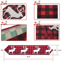 "Load image into Gallery viewer, (H484)KAQ Christmas Table Runner Xmas Reindeer Table Runner Red Black Plaid for Family Dinner Christmas Holiday Birthday Party Home Table Decoration, 13.7"" x 69.3"""