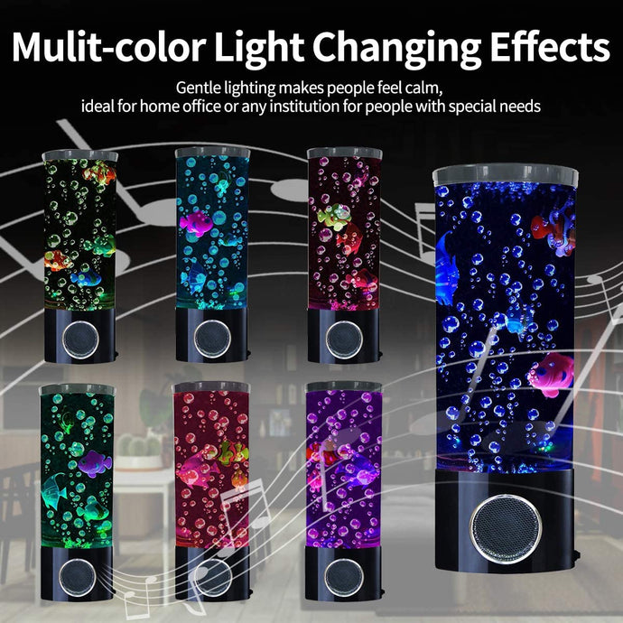 (Q488) Vaticas Mini Fish Lava Lamp Bubble LED Multi-Color Changing Aquarium Light with 4 Artificial Fish Night Light