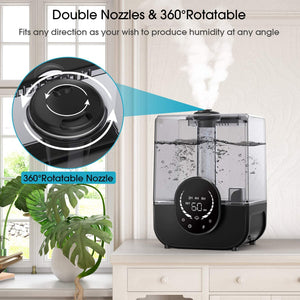 (D958)Cool Mist Humidifier, Ultrasonic Air Humidifiers for Bedroom Baby Home, 5L Top Fill Large Humidifier with LED Touch Display, Adjustable Mist Levels,