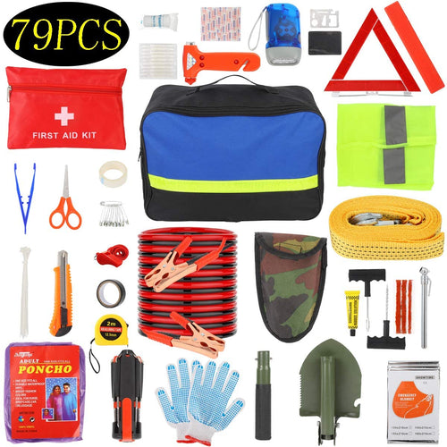 (W415)Manfiter Car Emergency Kit with Jumper Cables-19.68 ft,Roadside Emergency Car Kit First Aid Kit,Tow Rope,Reflective Warning Triangle,8-in-1 Screwdriver