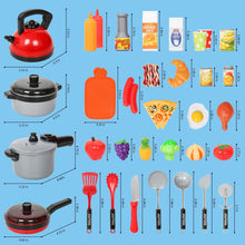 Load image into Gallery viewer, (W304)Shimfun Play Kitchen Accessories, 35Pcs Pretend Play Food & Cooking Toys for Toddlers, Kids Kitchen Playset with Utensils Pots and Pans