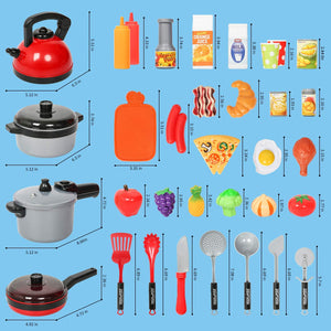 (W304)Shimfun Play Kitchen Accessories, 35Pcs Pretend Play Food & Cooking Toys for Toddlers, Kids Kitchen Playset with Utensils Pots and Pans