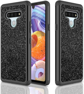 (A980)D DESSVON LG Stylo 6 Case, LG Stylo 6 Glitter Sparkle Case for Girl Women, Slim Full-Body Cover 2 in 1 Hybrid Hard PC & Soft TPU Rugged Bumper Shockproof Protective Phone Case