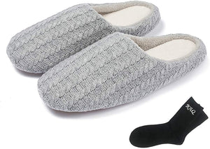 (H480)KAQ Women's Cashmere Cotton Knitted Slippers Slip on Memory Foam House Slippers Outdoor Indoor Warm Bedroom Shoes Autumn Winter with Socks