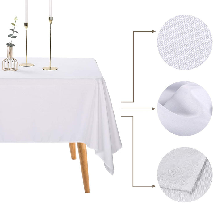 (T510)Ascoza 2pack 60x102 Inch White Rectangular Tablecloth for Wedding/Banquet/Restaurant/Parties