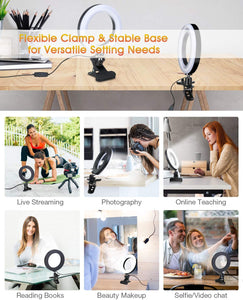 "(S814)ELEGIANT 6.3"" Selfie Ring Light with Clamp Mount for Desk, Bed, Office, Makeup, YouTube, Video, Live Steam & Broadcast"