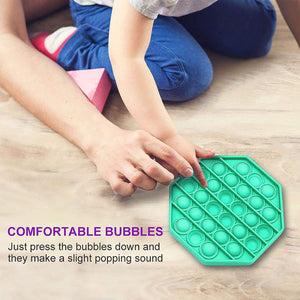 (R545)Push pop pop Bubble Sensory Fidget Toy,Autism Special Needs Stress Reliever Silicone Stress Reliever Toy,Squeeze Sensory Toy (Octagon-Green)