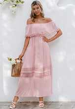 Load image into Gallery viewer, (M638)GRACEVINES Womens Boho Off Shoulder Maxi Dress Short Sleeve Ruffle party Beach Dress