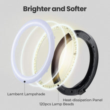 "Load image into Gallery viewer, (T202)VictSing 10"" LED Ring Light, Dimmable Desktop Selfie Ringlight with 360°Adjustable Tripod and Phone Holder, Camera Ringlight with 3 Modes & 10 Brightness"