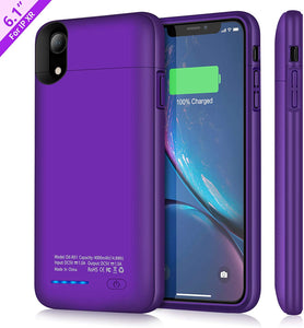 (W252)TAYUZH Battery Case for iPhone XR, 4000mAh Ultra-Slim Protective Portable Charging Case Compatible for iPhone XR Magnetic Battery Case Rechargeable Charger Case