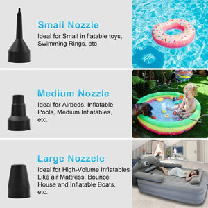 (Y683)Sunnie Electric Air Pump, Portable Inflating Air Pump with 3 Nozzles for Inflating Mattress Bed, Swimming Ring, Inflatable Pool, Inflatable Cushions, Inflating Pool Toy