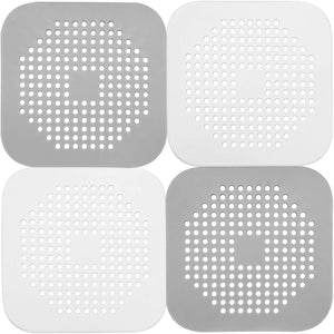 (A995)Ado Glo Hair Catchers, 4 Pack Shower Drain Covers, Easy to Install and Clean, Durable Silicone Sink Drain Strainers for Bathroom Bathtub and Kitchen
