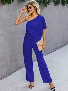 (M599)Glamaker Women's One Off Shoulder Jumpsuit Casual Loose Elastic Waist Wide Leg Pants Slanted Long Rompers