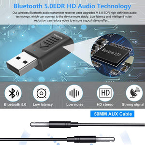 (C606) Bluetooth Receiver Transmitter, KINDRM 4in1 Mini USB Bluetooth 5.0 Audio Transmitter