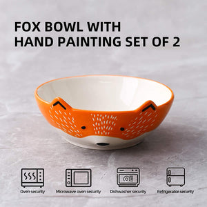 (X107)GoldenPlayer 3D Fox Ceramic Salad Bowl Cereal Bowl Pasta Bowls, 2pc 6inch Bowls Set for Soup Fruits - Orange and White