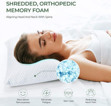 Load image into Gallery viewer, (T423)FIESAND Shredded Memory Foam Pillow for Sleeping, Hypoallergenic Soft Adjustable Bed Pillows with Washable Bamboo Pillow Cover for Neck & Shoulder Pain
