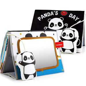(K571)beiens Soft Baby Books, Panda High Contrast Black White Books, Touch and Feel Non-Toxic Crinkle Cloth Books