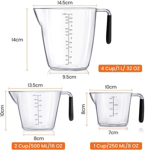 (T212)Plastic Measuring Cups Set, SAWAKE 3-Piece BPA Free Liquid Measuring Cups with Spout for Kitchen Cooking Baking - include 1, 2 and 4 Cup Capacity