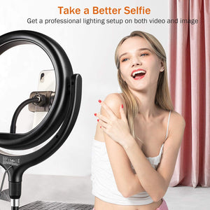 "(C186)TaoTronics 10"" Selfie Ring Light with 61'' Tripod Stand 2 Phone Holders and Bluetooth Remote Control, Dimmable Led Camera Ring Light"