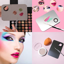 Load image into Gallery viewer, (G128)Rolybag Stainless Steel Makeup Palette, With Spatula Tool Cosmetic Makeup Palette, For Nail Art Makeup Eye Shadow Professional Pigment Cosmetic Mixing
