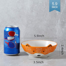 Load image into Gallery viewer, (X107)GoldenPlayer 3D Fox Ceramic Salad Bowl Cereal Bowl Pasta Bowls, 2pc 6inch Bowls Set for Soup Fruits - Orange and White
